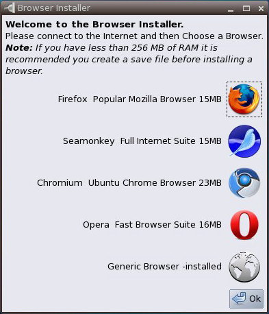 Lucid Puppy 5.1.1 のブラウザ選択画面