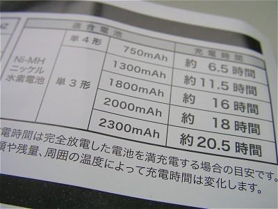 激安単三ニッケル水素電池用充電器の充電時間 - SANYO Xacti DSC-J1