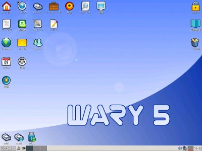 Puppy Linux Wary-511-01j のデスクトップ