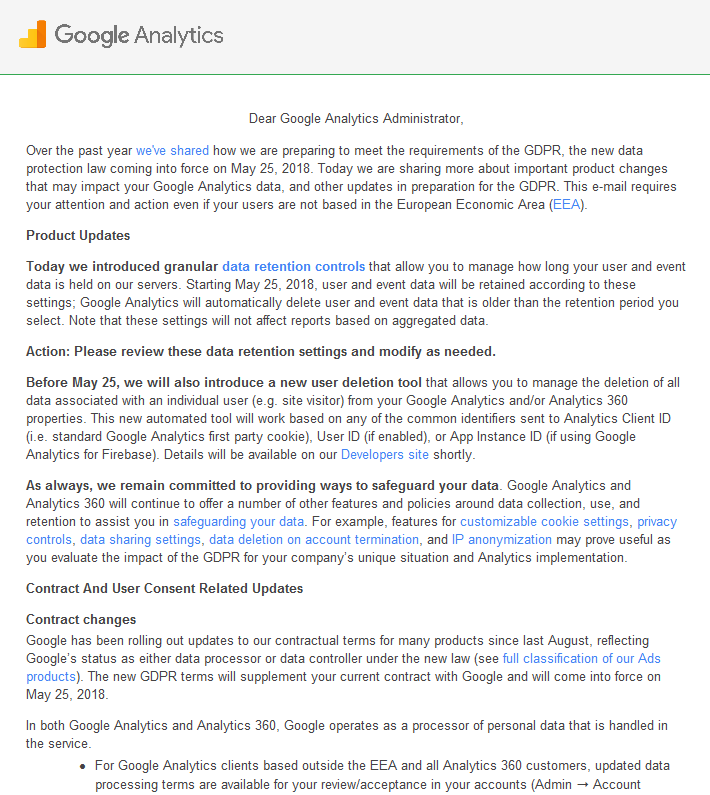 Google Analytics から [Action Required] Important updates… というメールが届きました